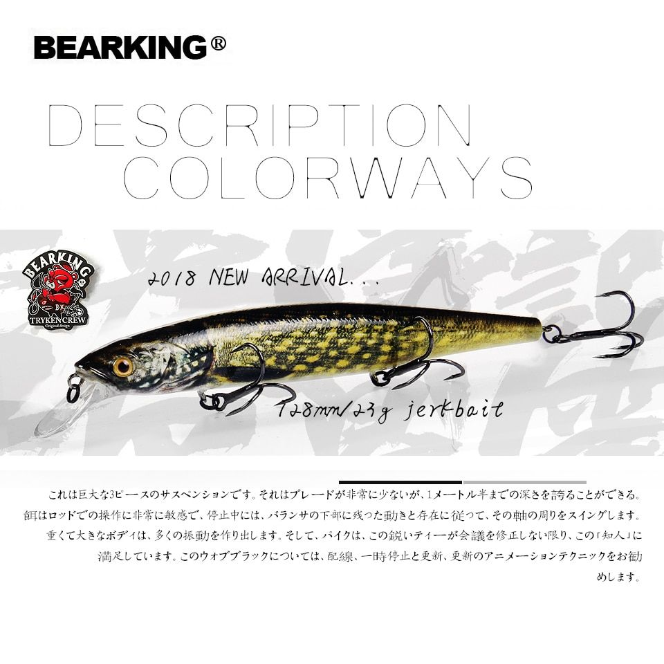 2018 hot Bearking perfect action 19different colors fishing lures, 128mm 23g sp minnow 19 different colorful color,free shipping