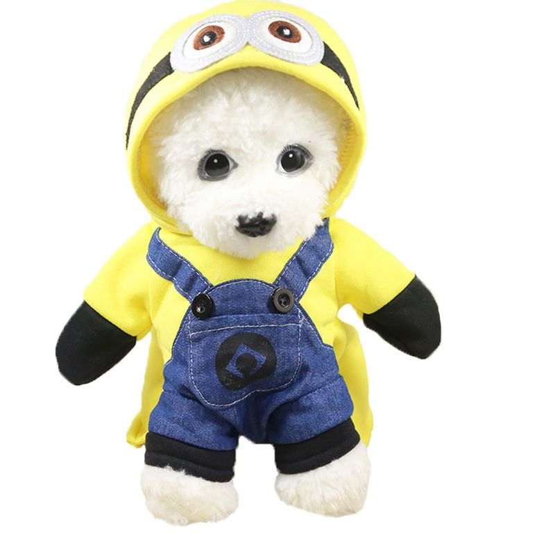 Small Dog Cat Clothes Minions Cartoon Cute Hoodie Pet Novelty Costume Puppy Clothes for Dogs Cats Winter Autunm Warm Coat