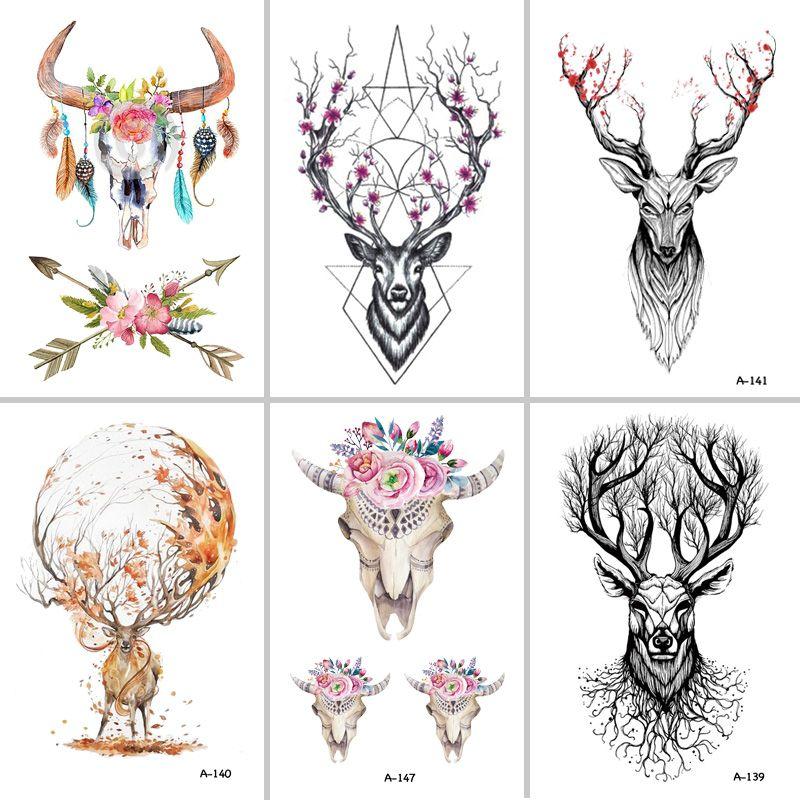 BEST Fran lcw113 NEW SIOZRE Temporary Tattoo For Women Tattoo Body Art 9.8X6cm Waterproof Hand Fake Tatoo Sticker Elk Animal
