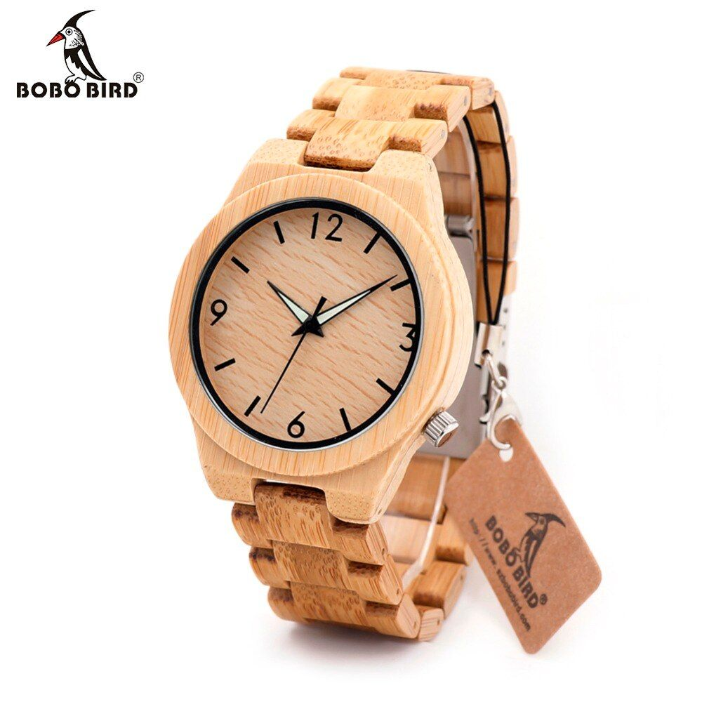 BOBOBIRD D27 Natural All Bamboo Wood Watches Top Brand Luxury Men Watch Wth <font><b>Japanese</b></font> 2035 Movement For Gift