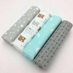 4 unids/lote bebé recién nacido cama de cama conjunto 76x76 cm para recién nacido cuna hojas lino 100% algodón franela manta bebé de la impresión