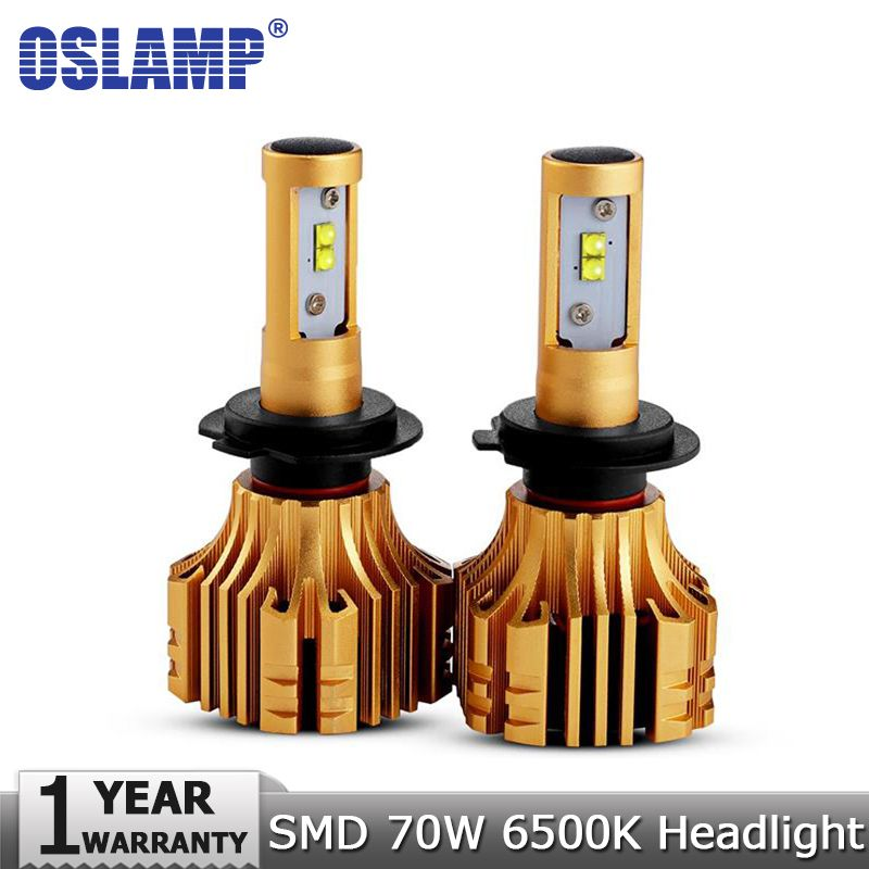 Oslamp SMD CREE Chips 70W H4/H7/H11/9005/9006/H13/H1 LED Headlight Car Bulbs 7000LM <font><b>6500K</b></font> 12v 24v All-in-one Auto Headlamp Kits
