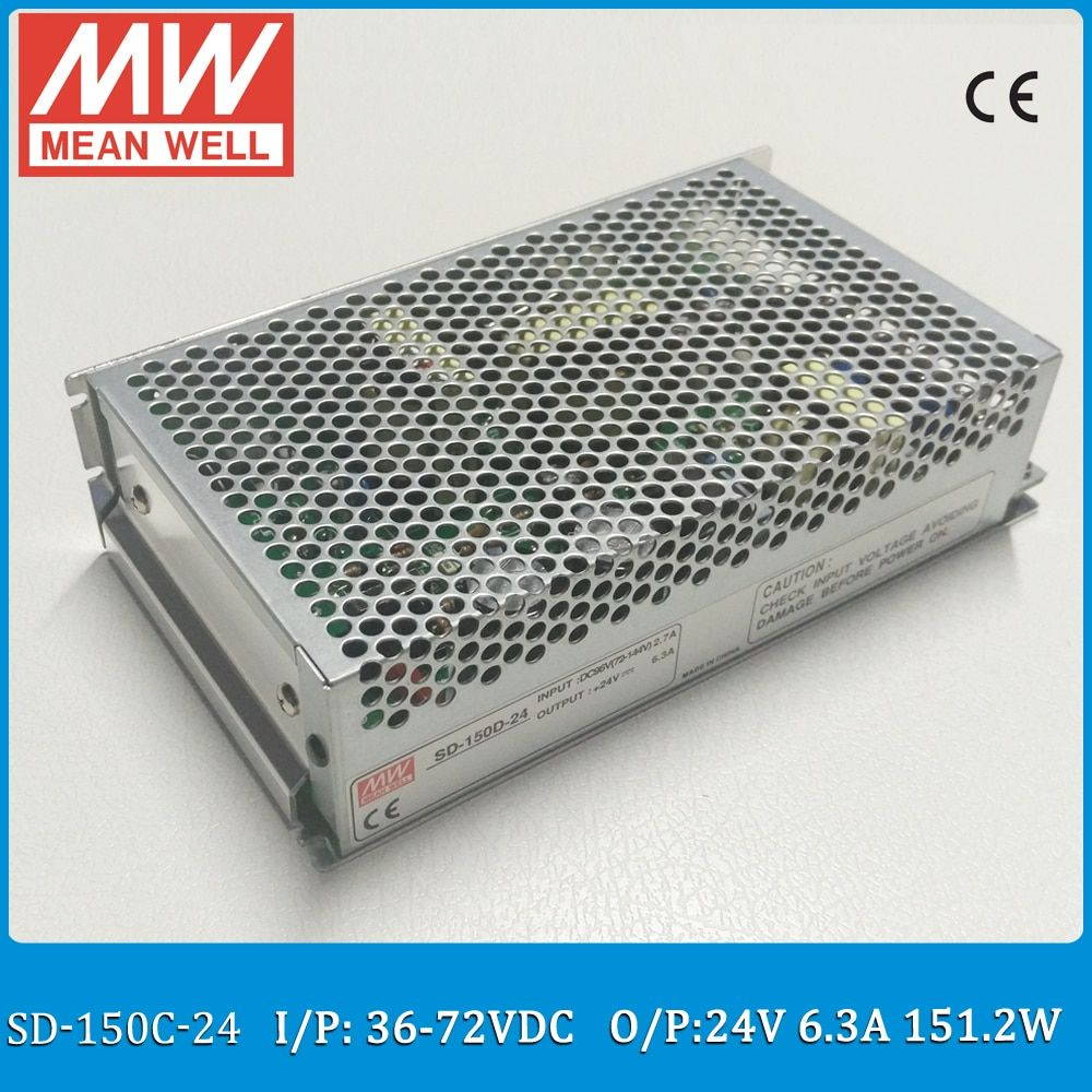 Original MEAN WELL SD-150C-24 Single Output 150W 6.3A 24VDC Input 36~72VDC meanwell dc/dc converter