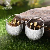 Lotus Real 925 plata esterlina Natural creativa joyería fina hecha a mano mi pequeño jardín pendientes para las mujeres Brincos