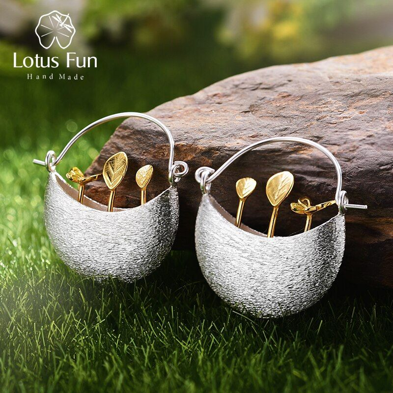 Lotus Fun Real 925 Sterling Silver Natural Creative Handmade Fine Jewelry My Little Garden Drop Earrings for Women Brincos