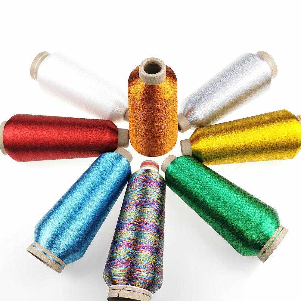 Sanbest 24 couleurs fil à broder métallique pour frère Machine à broder or argent 5000M 125g pièces à coudre bricolage TH00028
