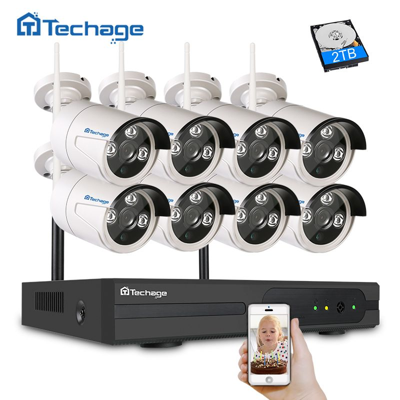 Techage 8CH Wifi CCTV Camera System Wireless NVR Kit 720P/960P/1080P Outdoor Security Camera P2P Video Surveillance System Set