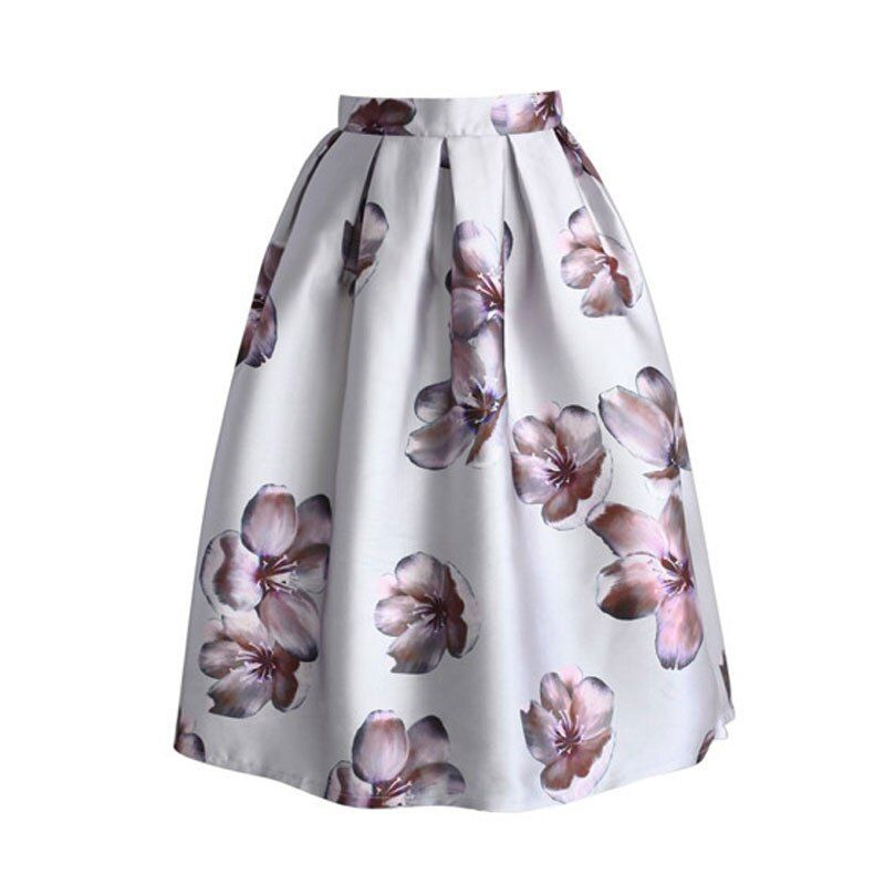 Dioufond nueva llegada verano Faldas Womens rodilla-longitud MIDI falda pastel alta cintura SAIA feminina falda flor graceful SAIA MIDI