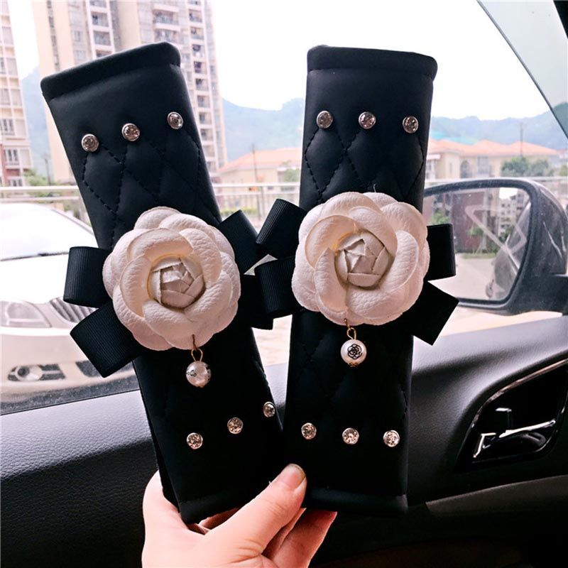 camellia women's safety car seat belt covers Leather with flower seat belt cover shoulder pads for girls seatbelt cover