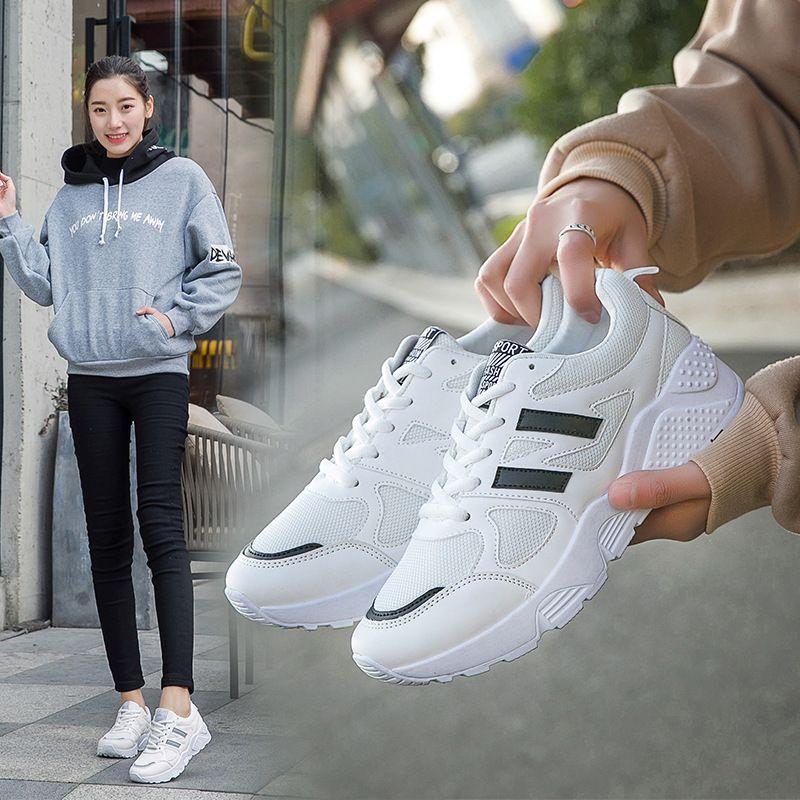 Autumn Season All-match Sneakers Woman New Pattern Student Korean Plate Thick Bottom Increase Leisure Time Run---ALEX