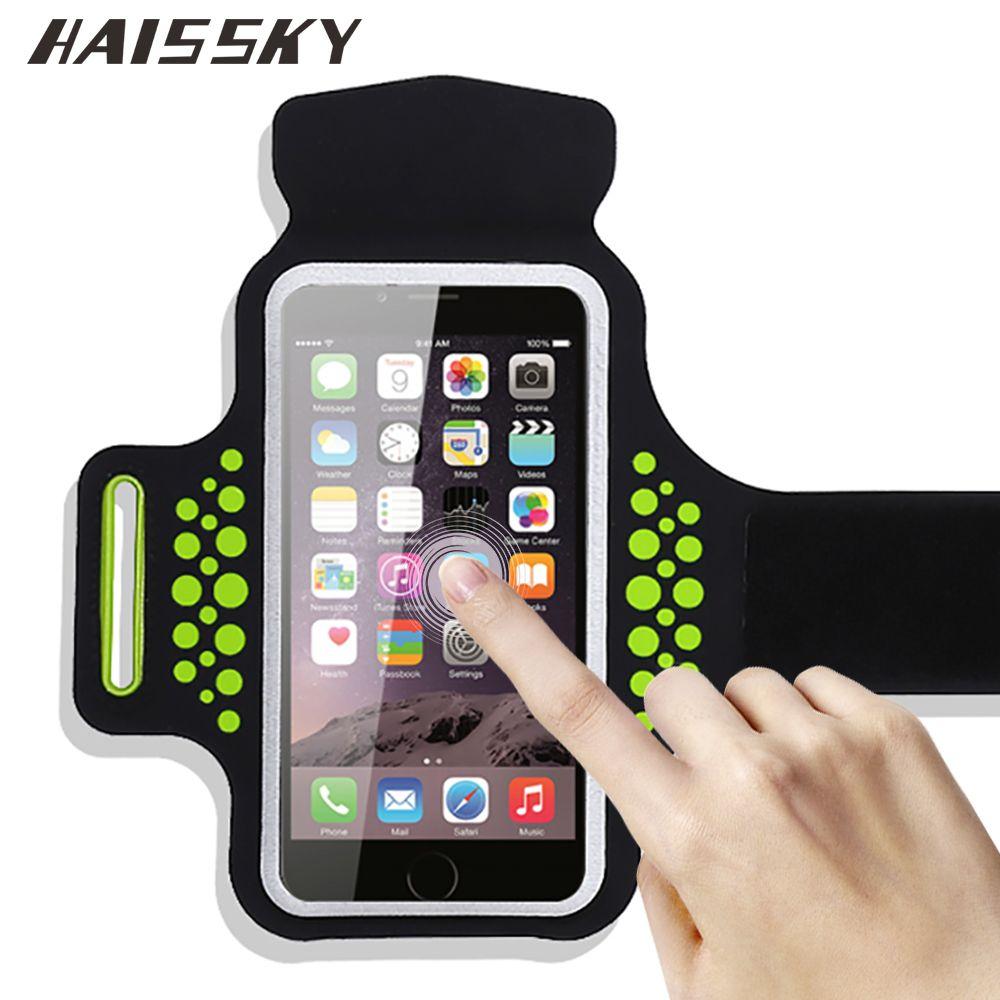 HAISSKY Sport Brassard Cas Pour iPhone X 6 6 s 7 8 Plus Xiaomi mi5 mi6 Redmi 4 pro Huawei P10 Brassard Écran Tactile Bras Cover Band