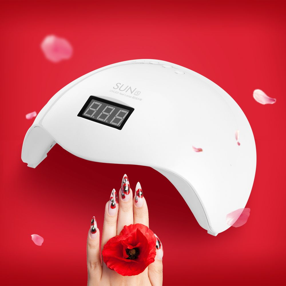 SUN5 UV LED Lamp 48W Nail Dryer Lamp For Drying Nails Double light Auto Sensor with LCD Display Button Timer SUNUV Manicure Lamp