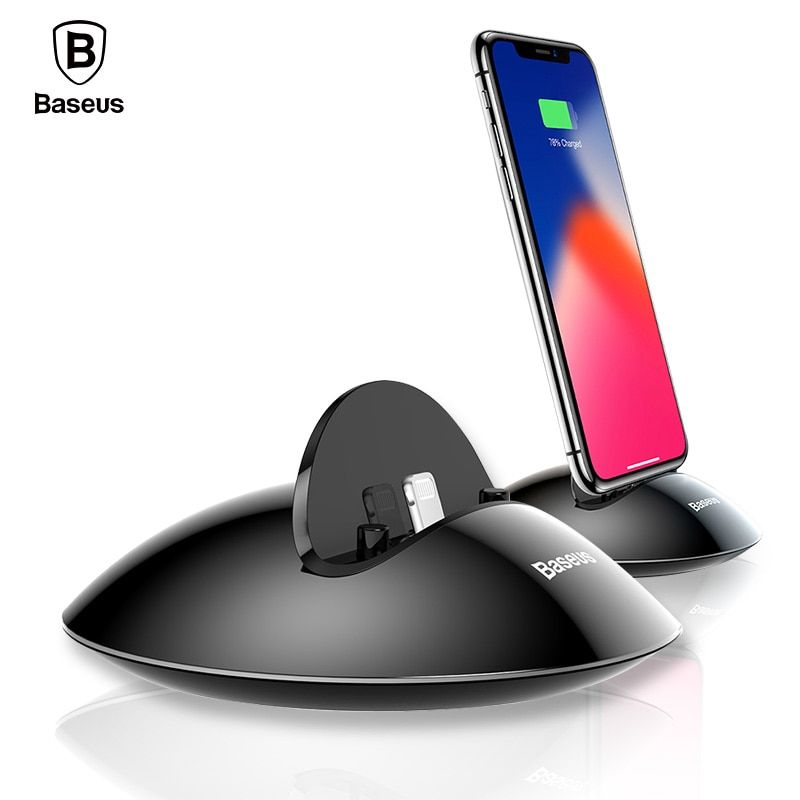Baseus Charging Dock Station For iPhone X 8 7 6 6s Plus 5 5s se Desktop Docking Station Sync Data USB <font><b>Charger</b></font> Charging Stand