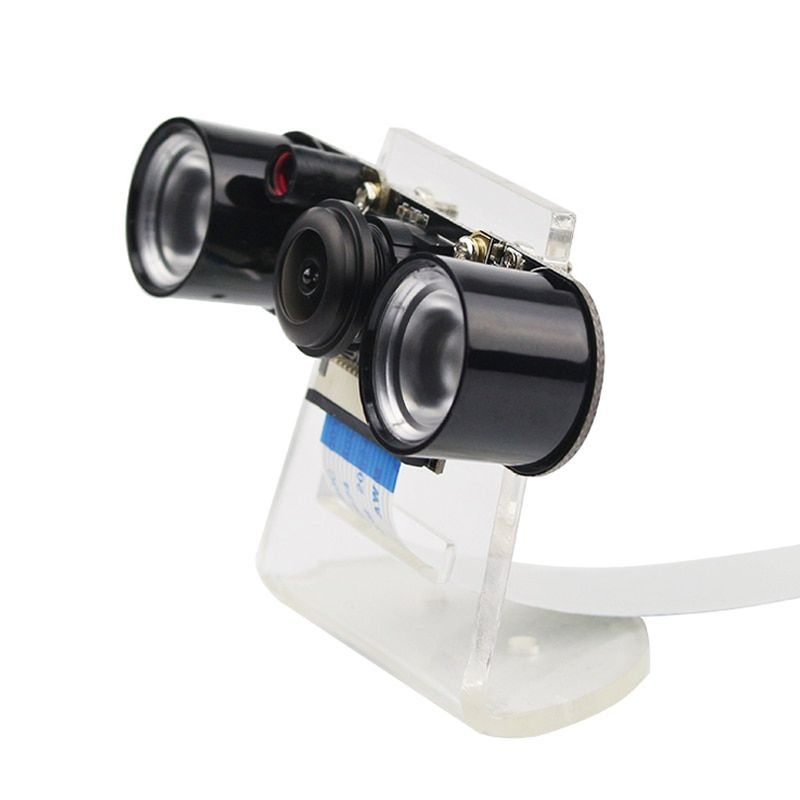 Raspberry Pi 3 <font><b>Model</b></font> B+ Camera Night Vision Wide Angle Fisheye Camera 5MP Webcam + 2 Infrared IR LED Lights + Acrylic Holder
