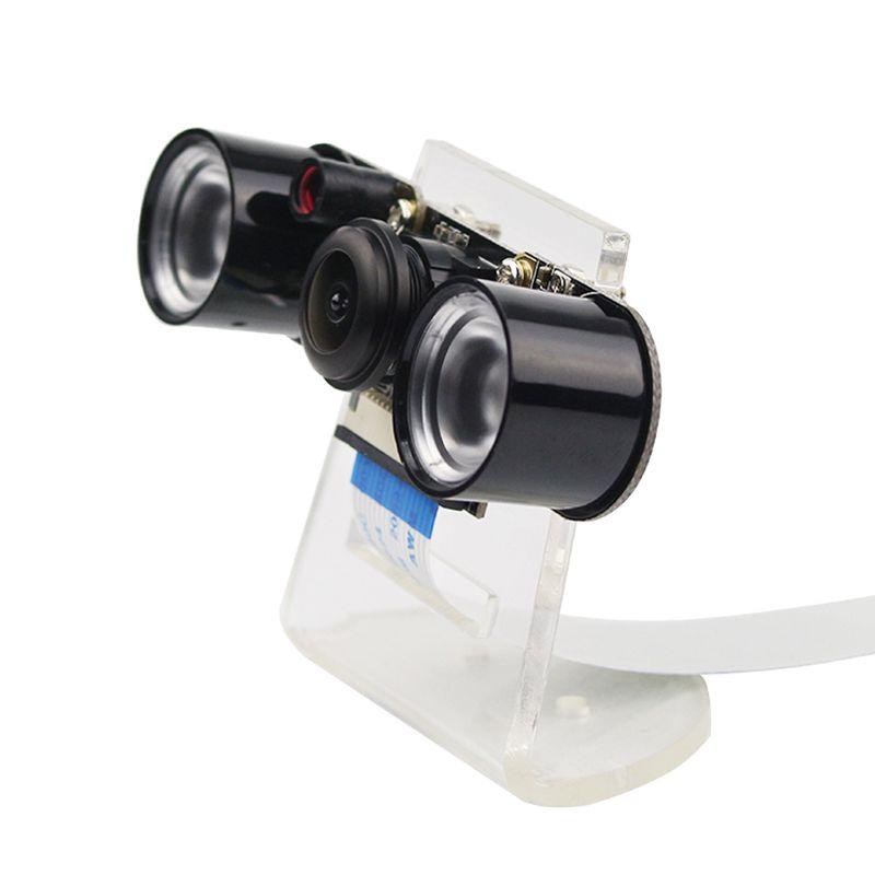 Raspberry Pi 4 modèle B/3B + caméra Vision nocturne grand Angle Fisheye caméra 5MP Webcam + 2 lumières de LED infrarouge IR + support acrylique