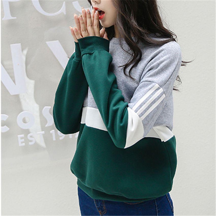 Herbst Neue Zauber Nähte Harajuku Frauen Hoodies Pullover Fleece Lose Weiblich Trainingsanzüge Lässig Rundhals-sweatshirt 2XL
