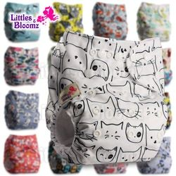 Littles&Bloomz Baby Washable Reusable Real Cloth Pocket Nappy Diaper Cover Wrap suits Birth to Potty One Size Nappy  Inserts