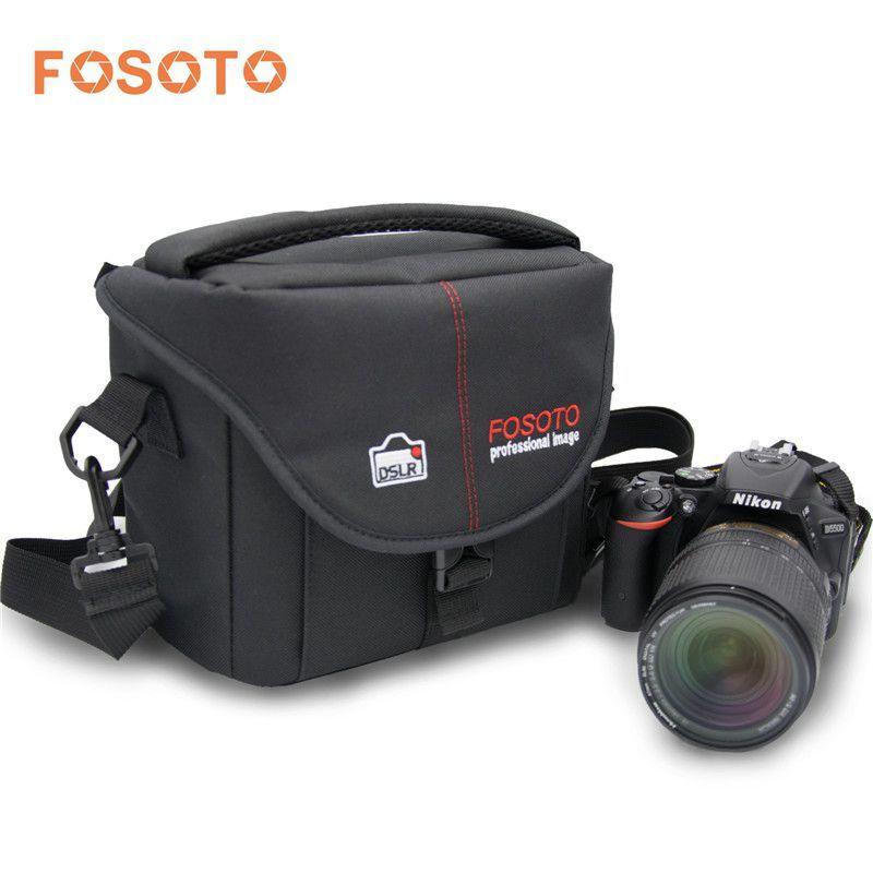 Fosoto Caméra Sac En Nylon Cas Photo Vidéo Photographie Devrait Sacs pour Canon Nikon D3300 Sony Pentax Samsung Panasonic DSLR Caméra