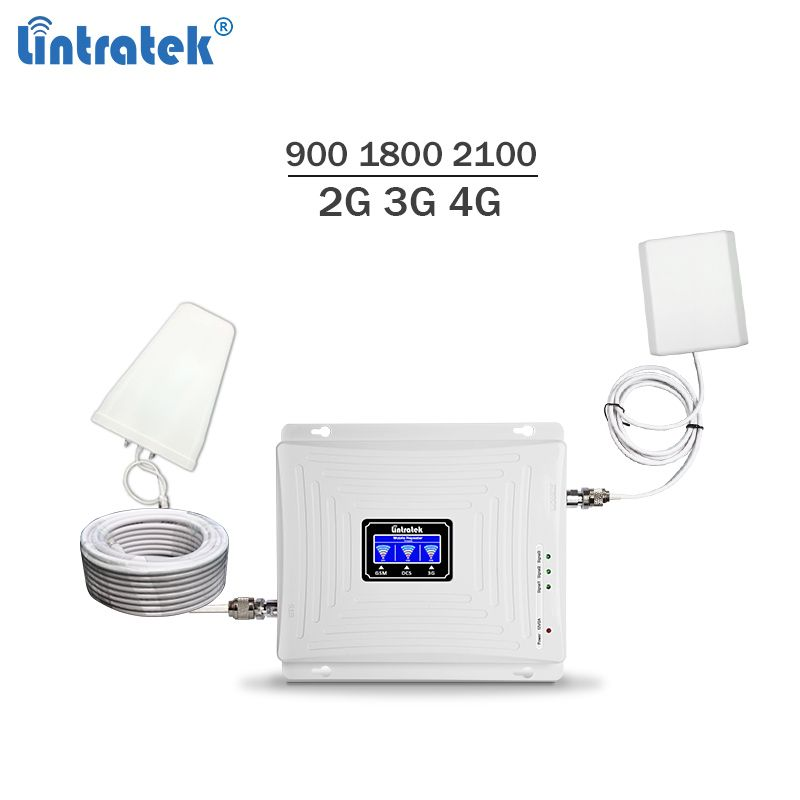 2018 new triband celular signal booster 900 1800 2100Mhz gsm mobile signal repeater 3g 4g lte cellphone amplifier 65dBi #7
