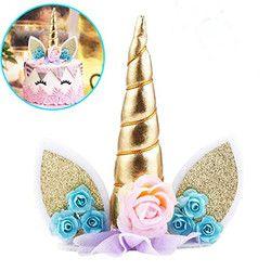 Vvsoo 1pc Unicorn Horns Cake Topper Decor Halloween Birthday Party Event Supplies Kids Birthday Cake Decoration