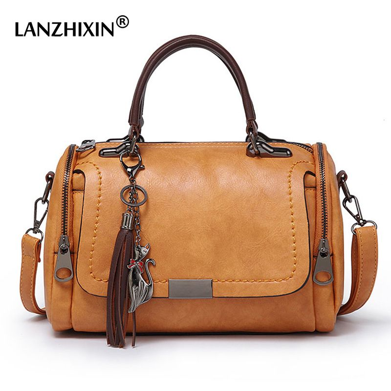 LANZHIXIN Crossbody Bags For Women 2018 Vintage Ladies Leather Handbags Women Bags Designer Tassel Shoulder Bag Female Zipper