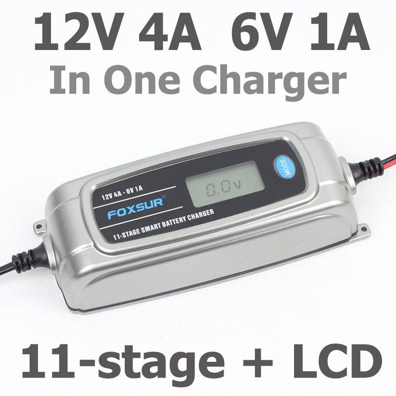FOXSUR 12V 4A 6V 1A 11-stage Smart Battery Charger, 6V 12V EFB GEL AGM WET Car Battery Charger with LCD display & Desulfator