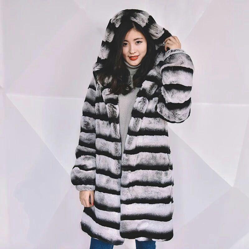 Custom make Rex Rabbit fur V striped Patchwork ,Bust size of coat 2XL 110 cm,hooded ,long sleeve 61 cm,coat length 90 cm