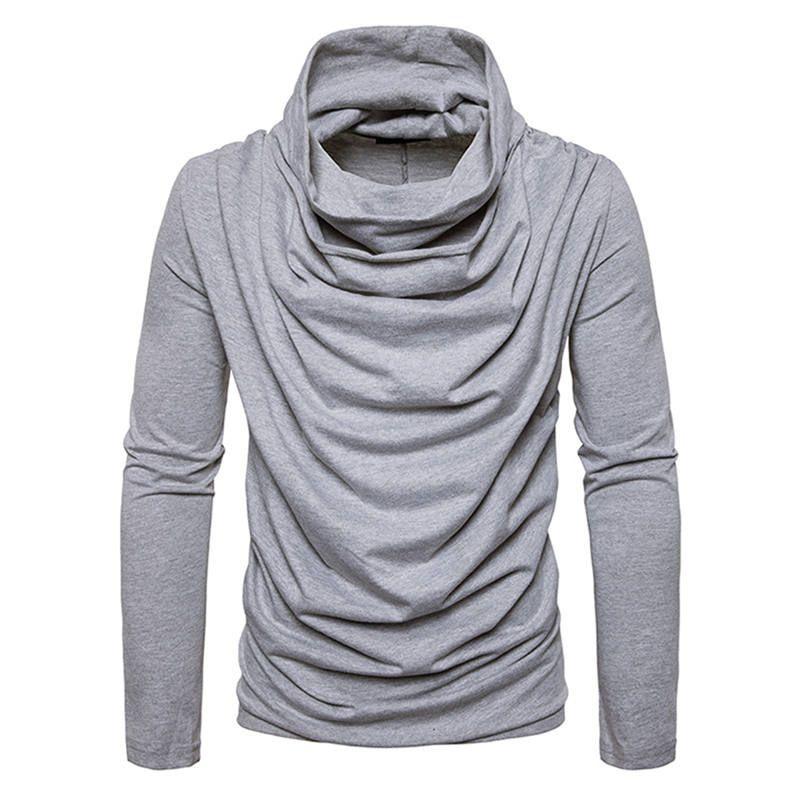 Men Knitwear Jumpers Knitwears Sweaters Pullover Turtleneck Casual Slim Fit Sweater Draped Hip Hop Heap Collar Dress 0589