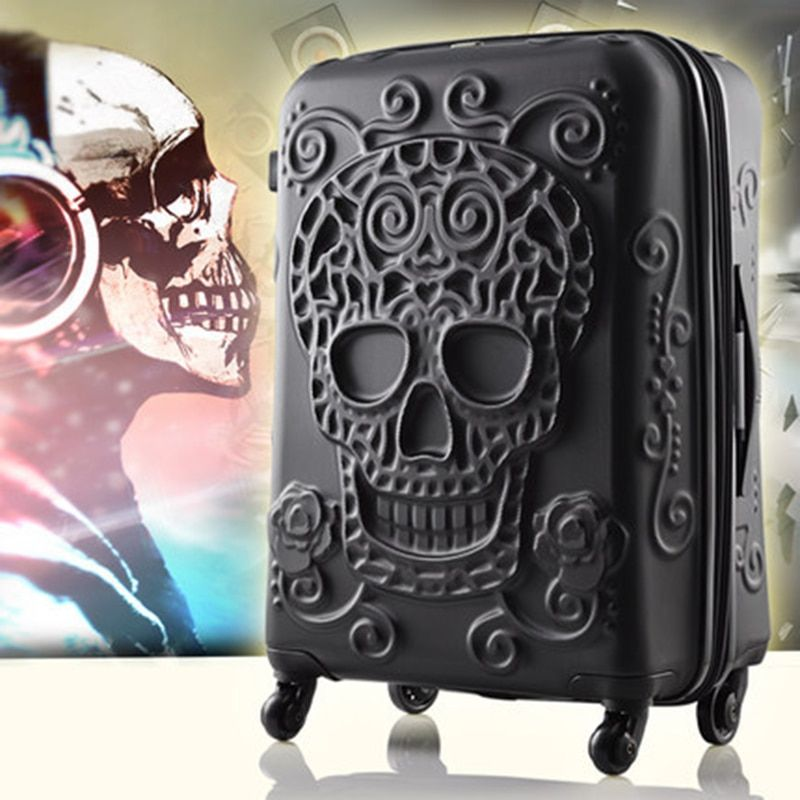 20,24,28 Inch Rolling Luggage Spinner brand Travel Suitcase original 3d skull luggage Women <font><b>Boarding</b></font> Box Carry On Bag Trolley