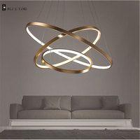 Anillos dorados de 3 círculos LED luces colgantes simples para sala de estar comedor LED Lustre lámpara colgante accesorio de techo colgante
