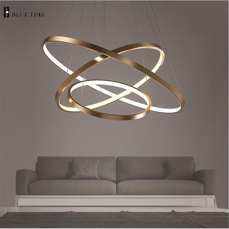 Golden 3 Circle Rings LED Simple <font><b>Pendant</b></font> Lights For Living Room Dining Room LED Lustre <font><b>Pendant</b></font> Lamp Hanging Ceiling Fixture