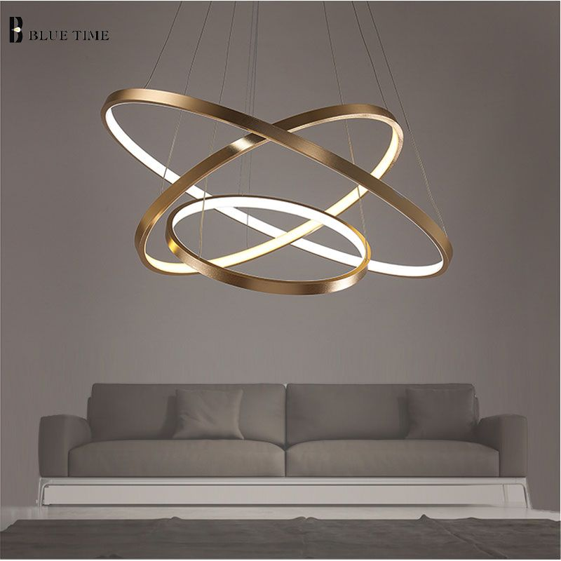 Golden 3 Circle Rings LED Simple Pendant Lights For Living Room Dining Room LED Lustre Pendant Lamp Hanging Ceiling Fixture