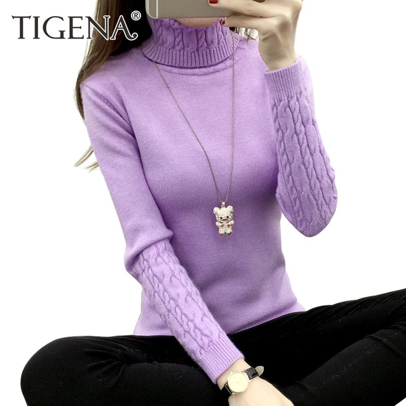 TIGENA Thick Warm Women Turtleneck Sweater 2017 Autumn Winter Knit Women Sweaters And Pullovers Female Tricot Jumper Pull Femme