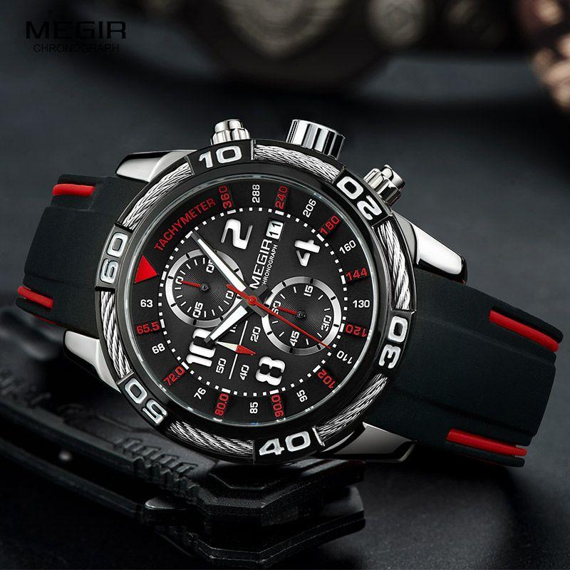 Megir Analogue Chronograph Battery Quartz Watch for Man Men's Black Silicone Bracelete Sport Wristwatch Boy's Stopwatch 2045G