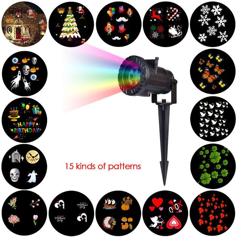 HUANJUNSHI 15 PCS Projector Light RGB Lawn Laser Lamp Waterproof Outdoor Lighting DJ Disco Party Light For Christmas Halloween