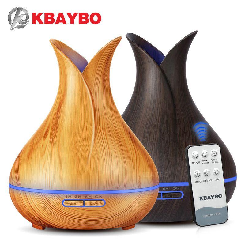 400 ml Télécommande À Ultrasons Bois Grain Humidificateur Aromathérapie Aroma Huile Essentielle Diffuseur pour La Maison Chambre Bébé
