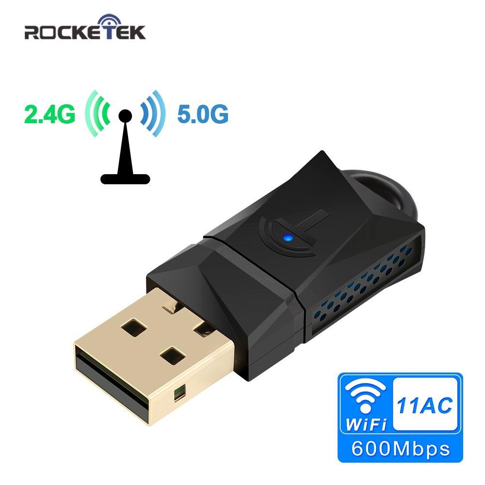 Rocketek 600 Mbps USB WiFi Dongle Adaptateur, double Bande USB Sans Fil Carte Réseau lan pour PC De Bureau Ordinateur Portable Tablet 802.11a/g/n/ac