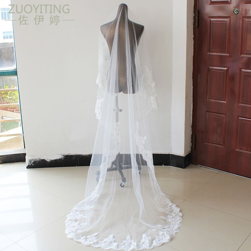 ZUOYITING Luxury 3m Ivory White One Layer Tulle Sequins Lace Edge Cathedral Wedding Veil Long Bridal Veil Wedding Accessories