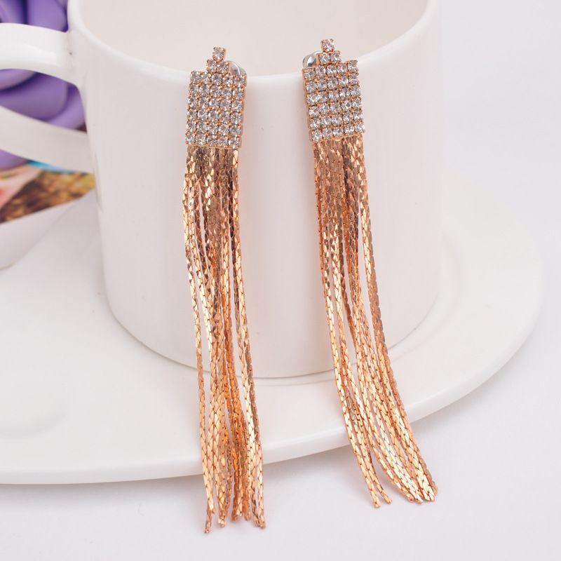 Long Gland strass clip sur boucles d'oreilles amorti oreille clip pour femme dames