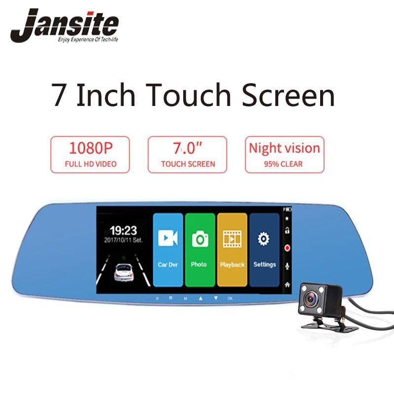 Jansite 7 zoll Touch Screen Auto DVR Dual Objektiv Auto Kamera Rückspiegel Video Recorder Dash Cam Auto Kamera Tragbare recorder