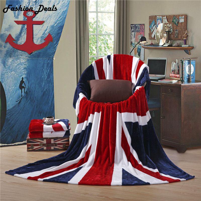 Reine taille 150x200cm nouvelle Union Jack britannique UK drapeau couverture US drapeau couvertures en peluche polaire couverture lit jeter sur le lit/canapé/voiture