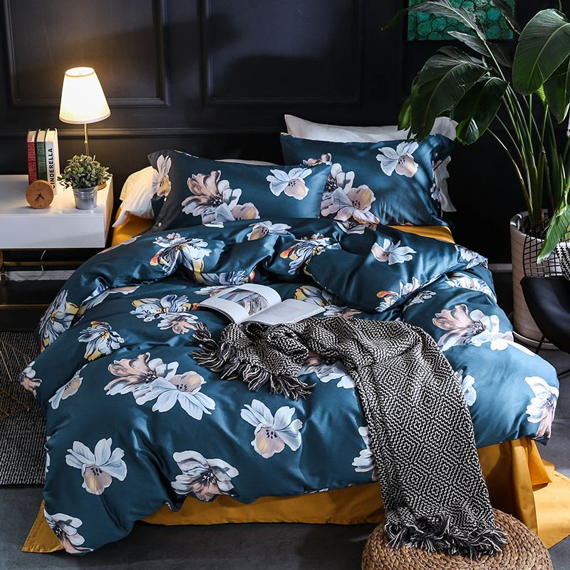 Luxury Egyptian Cotton flowers leaf print Bohemia Duvet Cover Bed Sheet set Pillowcase Queen king Size Bedding Sets Bed Linen