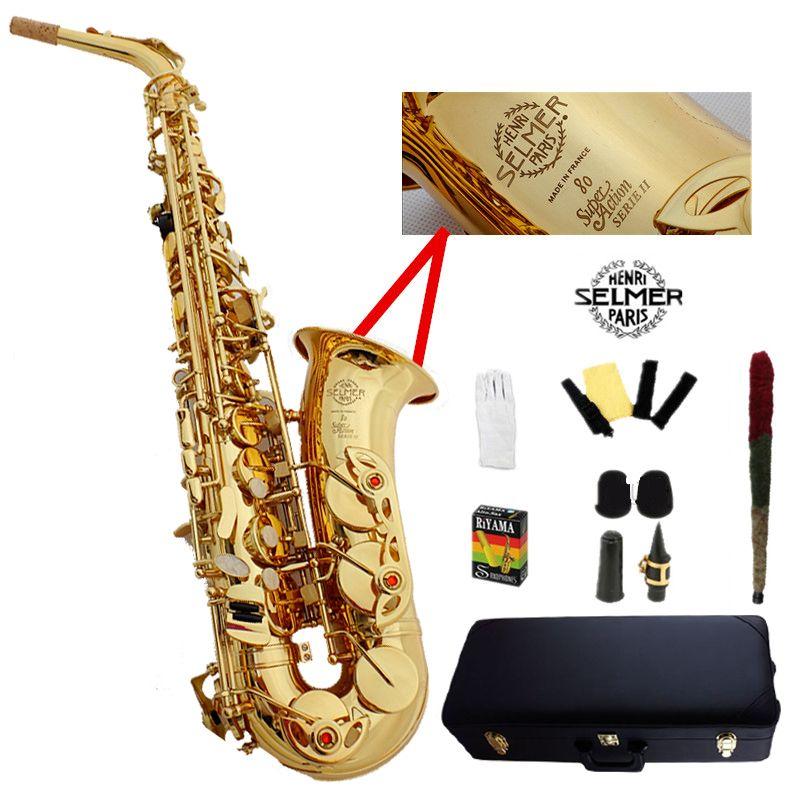 France Selme SAS 802 alto saxophone Eb sax Electrophoresis gold saxofone professional musical instruments mouthpiece & Hard boxs