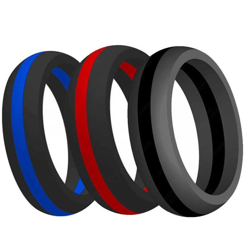 9MM Size 5-15 Silicone Ring Rubber Multi Color Hypoallergenic Crossfit Flexible Ring Band Wedding Engagement Statement Cocktail