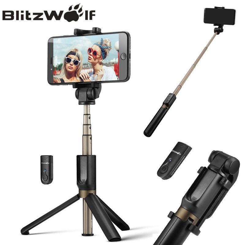 BlitzWolf 3 in 1 Wireless Bluetooth Selfie Stick Tripod <font><b>Mini</b></font> Extendable Monopod Universal For iPhone For Samsung Selfie Stick