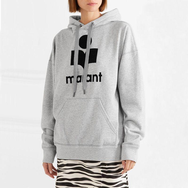 WISHBOP NEUE 2018 Mode Grau Oversize Mit Kapuze Sweatshirt Samt Briefe Drucken Lose rundhals mit Kordelzug hoodies