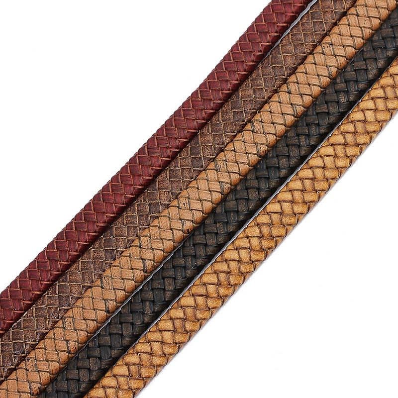 1Yard/lot 10mm 12mm Width Black Brown Flat 100% Genuine Leather Cords String Thread for Bracelets Jewelry Making Materials