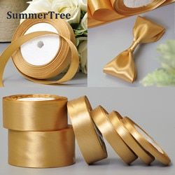 1 Roll Gold 25 Yards 6mm - 50mm Satin Ribbon Sash Gift Bow Craft Wedding Party Supplies Event Anniversary Banquet Decoration