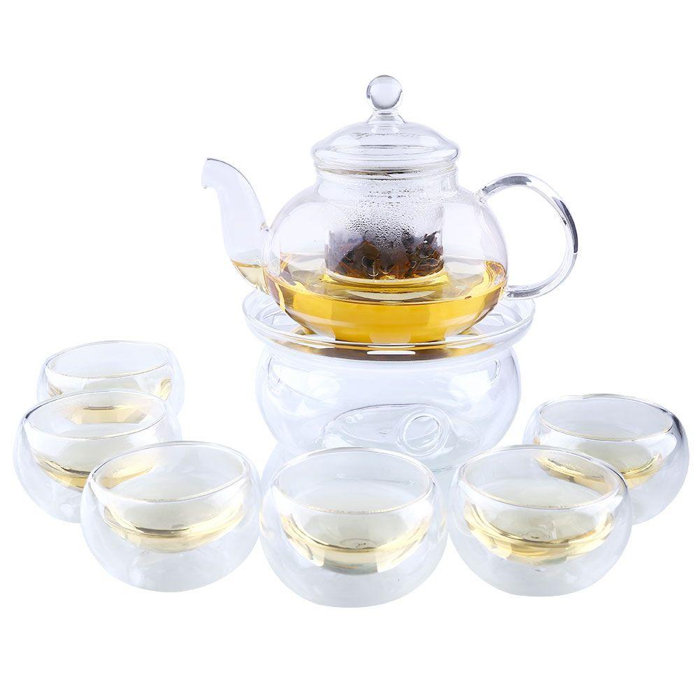 SOLEDL 1 Set Teapot+Warmer+6 Cup 800ML Clear Borosilicate Glass Tea Pot Heat-resistant Cups Flowers Tea
