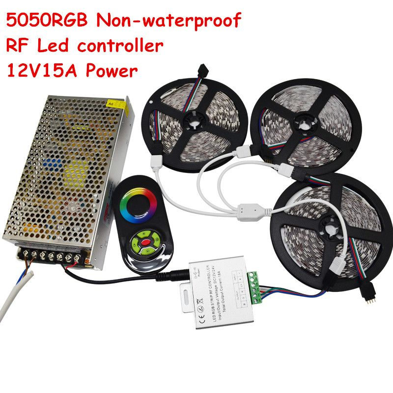 15m LED Strip SMD 5050 RGB Light DC12V 60Led/m Non-Waterproof Light + RF Touch Remote+ 12V 15A Power Supply